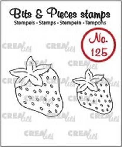 46744 Crealies Clearstamp Bits&Pieces no. 125 Aardbeien CLBP125.