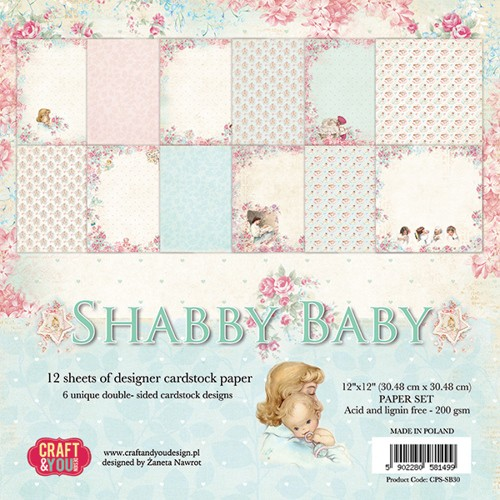 46882 Craft & You SHABBY BABY Big Paper Set 12x12, 12 sheets, 200 gsm.