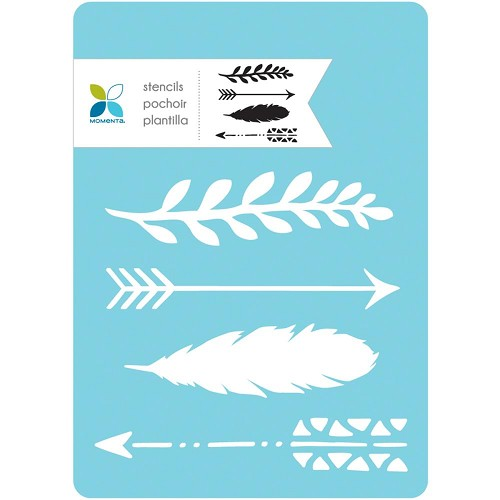 46913 Momenta Stencil Arrows & Feathers 13x18 cm.