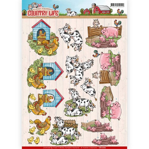 46923 (316) Yvonne Creations - Country Life - Farm Animals (CD11060).