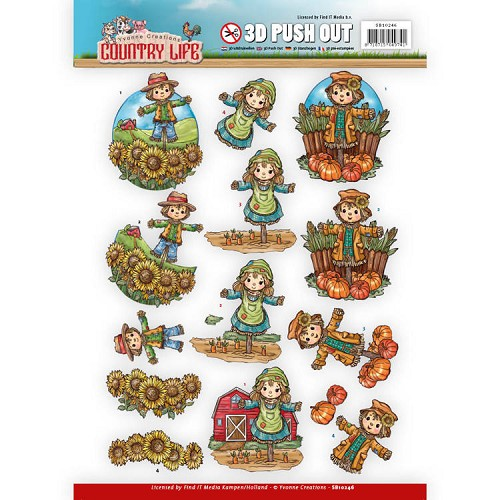 46926 Push Out - Yvonne Creations Country Life Scarecrow (SB10246).