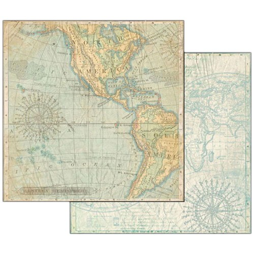 "47091 Stamperia Double-Sided Cardstock 12""X12"" Map."