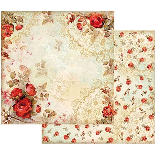 "47092 Stamperia Double-Sided Cardstock 12""X12"" Red Roses."