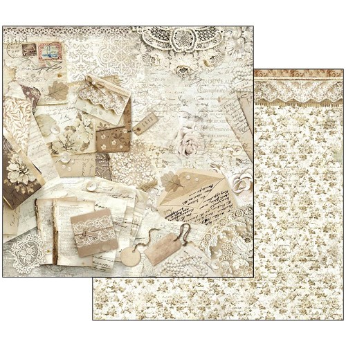 "47105 Stamperia Double-Sided Cardstock 12""X12"" Old Lace Cards & Laces."