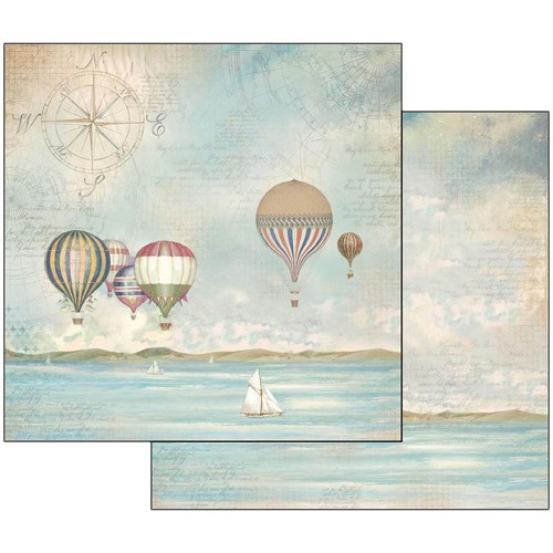 "47116 Stamperia Double-Sided Cardstock 12""X12"" Sea Land Balloons."