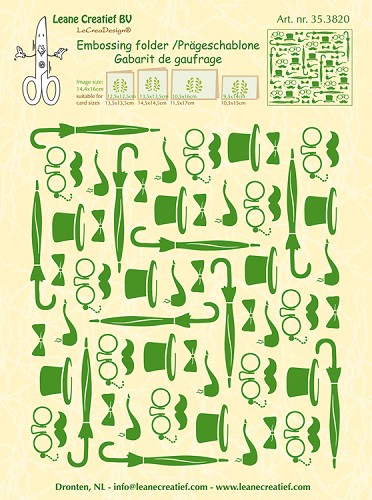 47159 Leane Embossing Folder Background Gentlemen 14.4x16cm (35.3820).