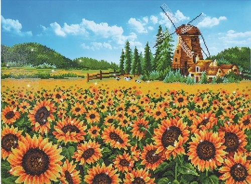 47423 DD13.016 Diamond Dotz - 76.5 x 57cm - Sunflower Windmill.