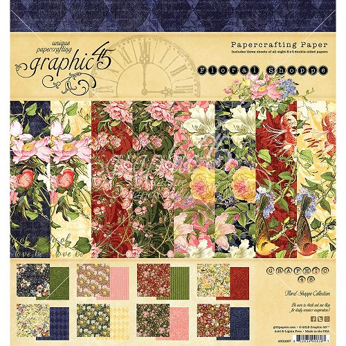 "47478 Graphic 45 Double-Sided Paper Pad 8""X8"" 24/Pkg Floral Shoppe (4501697)."