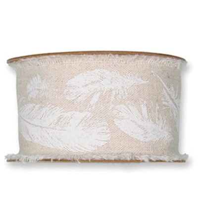 47632 Halbach Cotton Ribbon Feathers, Pearl 3 M x 40mm.