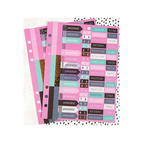 47674 My Prima Planner Mini Stickers 2/Pkg Words & Numbers.