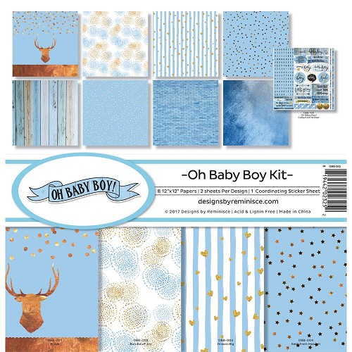 "47798 Reminisce Collection Kit 12""X12"" Oh Baby Boy."
