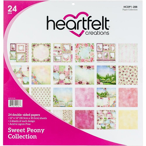 "47799 Heartfelt Creations Double-Sided Paper Pad 12""X12"" 24/Pkg Sweet Peony, 12 Designs/2 Each."