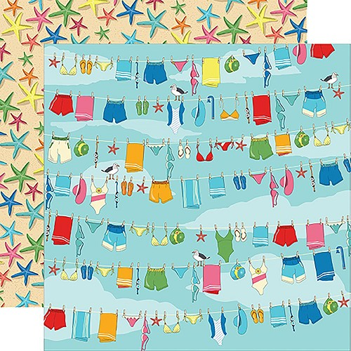 "47873 Carta Bella Summer Splash Double-Sided 12""X12"" Beach Day."
