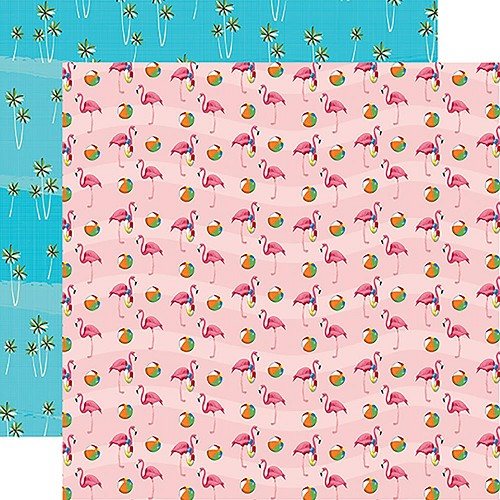 "47877 Carta Bella Summer Splash Double-Sided 12""X12"" Flamingo Fun."
