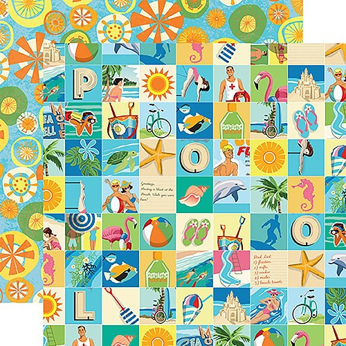 "47878 Carta Bella Summer Splash Double-Sided 12""X12"" Beach Squares."