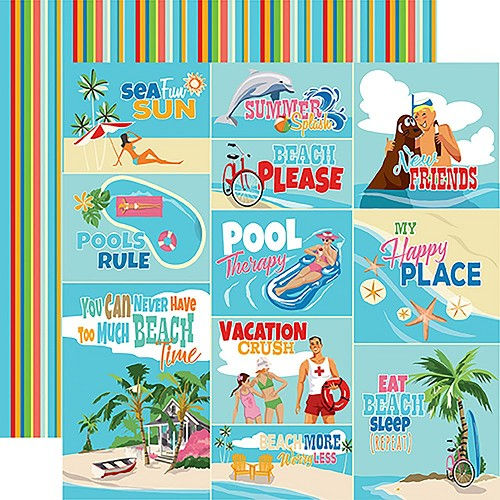 "47879 Carta Bella Summer Splash Double-Sided 12""X12"" Scene Journaling Cards."