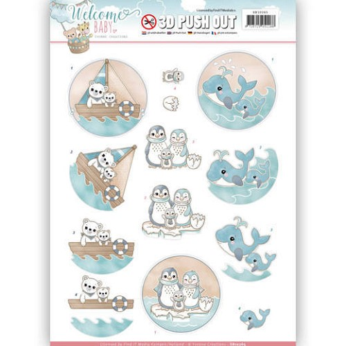 47958 3D Pushout - Yvonne Creations - Welcome Baby - By The Sea (SB10265).
