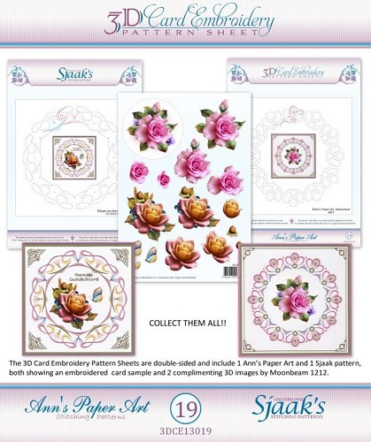 48104 (038) Ann`s Paperart - 3D Card Embroidery Pattern Sheet #19 with Ann & Sjaak.