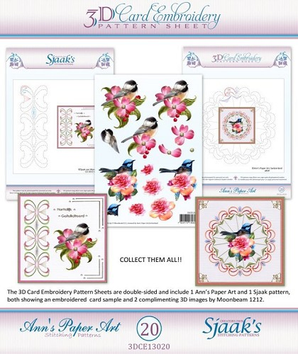 48105 (020) Ann`s Paperart - 3D Card Embroidery Pattern Sheet #20 with Ann & Sjaak.