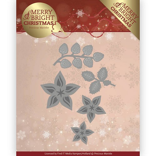 48129 Dies - Precious Marieke - Merry and Bright Christmas - Christmas Florals (PM10132).