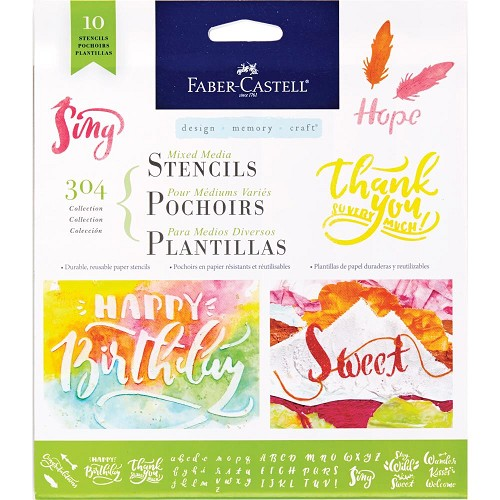 48198 Faber Castell Mixed Media Stencils 10/Pkg 304 (Lettering/Calligraphy) (770606).