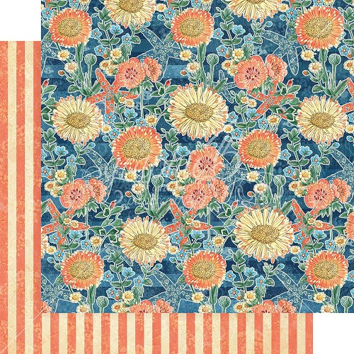 "48341 Graphic 45 Sun Kissed Double-Sided Cardstock 12""X12"" Floating Floral (4501668)."