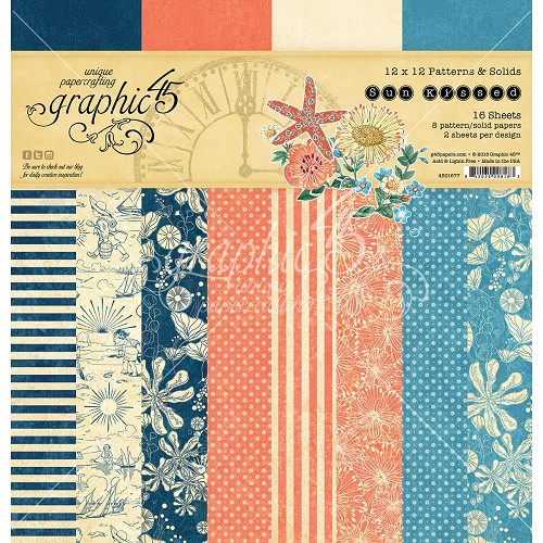 "48351 Graphic 45 Sun Kissed Pack 12""X12 ""Sun Kissed Print/Solid, 8 Designs 16 Stuks (4501677)."