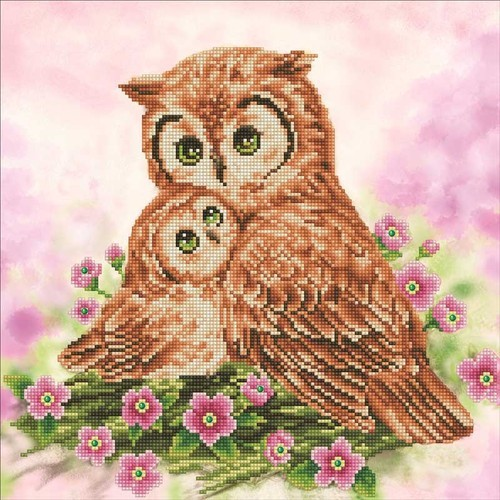 48405 Diamond Dotz - 42X42cm - Mother & Baby Owl (DD7.004).