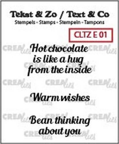 48450 Crealies Clearstamp Tekst & Zo Hot Chocolate, Warm Wish(ENG) (CLTZE01).