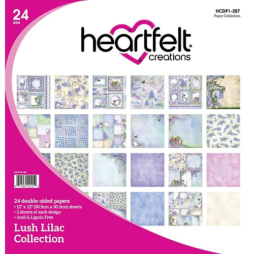 "48507 Heartfelt Creations Double-Sided Paper Pad 12""X12"" 24/Pkg Lush Lilac, 12 Designs/2 Each."