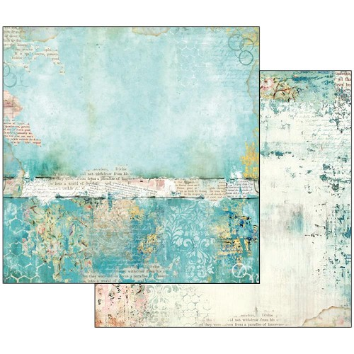 "48514 Stamperia Double-Sided Cardstock 12""X12"" Wonderland Turquoise Texture."
