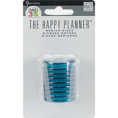 "48617 Happy Planner Discs 1.25"" 1.25"" 9/Pkg Clear Teal (RINR-02)."