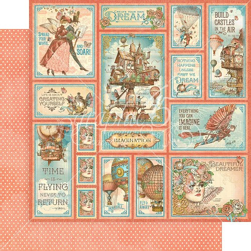 "48669 Graphic 45 Imagine Double-Sided Cardstock 12""X12"" Castles In The Air (4501714)."