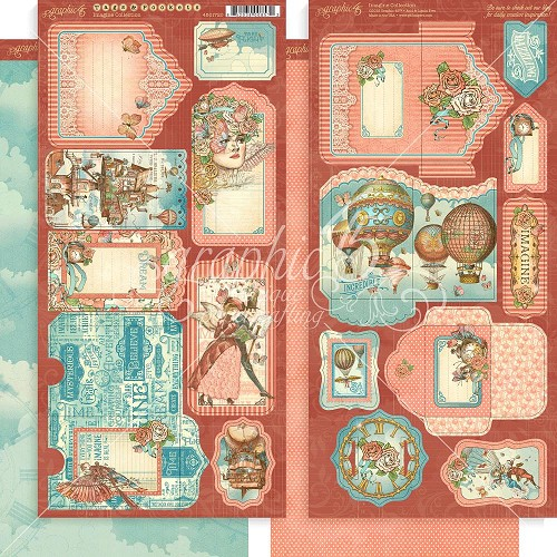 "48660 Graphic 45 Imagine Cardstock Die-Cuts 6""X12"" Sheets 2/Pkg Tags & Pockets (4501720)."