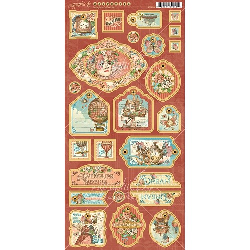 "48661 Graphic 45 Imagine Chipboard Die-Cuts 6""X12"" Sheet Decorative & Journaling (4501719)."