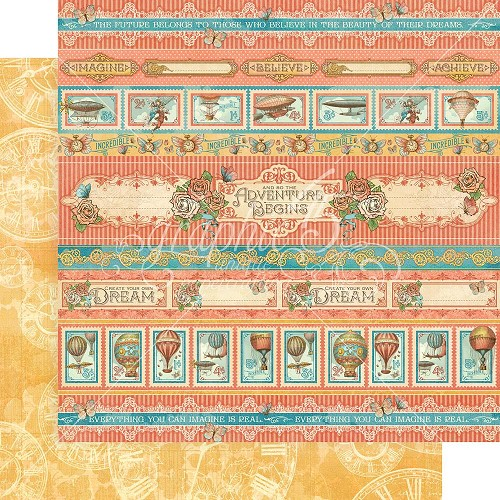 "48665 Graphic 45 Imagine Double-Sided Cardstock 12""X12"" Adventure Beckons (4501710)."