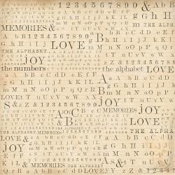 "48761 Stamperia Rice Paper Napkin 19.5""X19.6"" Alphabet, Numbers & Words."