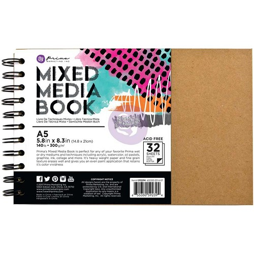 "48764 Prima Mixed Media A5 Spiral Bound Kraft Book 5.8""X8.3"" W/32 Pages (592394)."