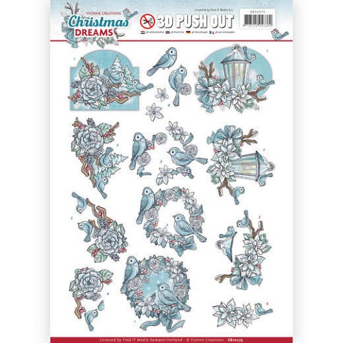 48872 3D Pushout - Yvonne Creations - Christmas Dreams - Christmas Birds (SB10275).
