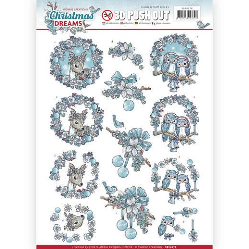 48873 3D Pushout - Yvonne Creations - Christmas Dreams - Christmas Animals (SB10276).