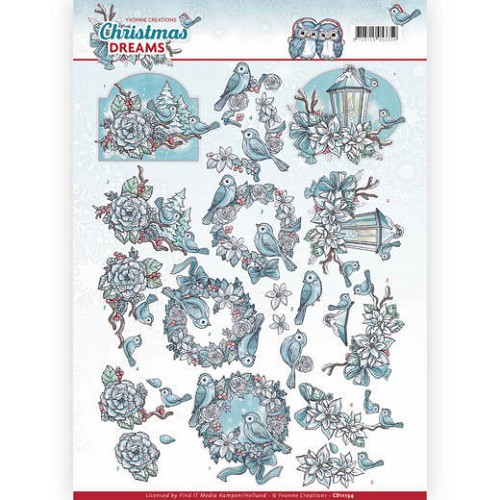 48876 (970) 3D Knipvel - Yvonne Creations - Christmas Dreams - Christmas Birds (CD11134).