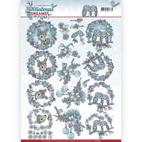 48877 (1051) 3D Knipvel - Yvonne Creations - Christmas Dreams - Christmas Animals (CD11135).