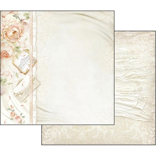 "48975 Stamperia Double-Sided Cardstock 12""X12"" Peony & Letters."