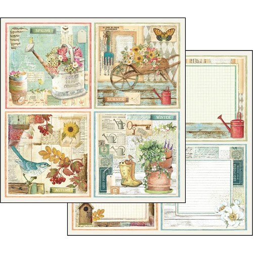 "48979 Stamperia Double-Sided Cardstock 12""X12"" Garden Cards."