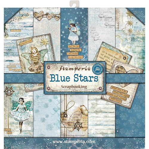 "48983 Stamperia Double-Sided Paperpad 12""X12"" Blue Stars 10 Designs/1 Each."