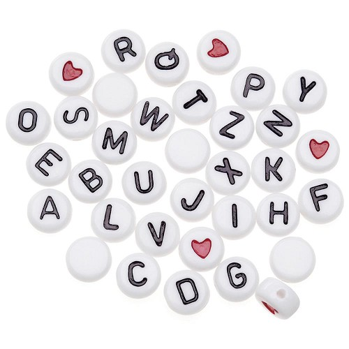 49116 Alphabet Beads 7mm 250/Pkg White Round W/Black Letters (0791-14).