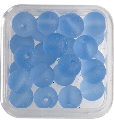 49143 Hobby Crafting Fun Glas Parels - Rond Mat Ice Blue 25 Stuks 6 MM (12035-3509).
