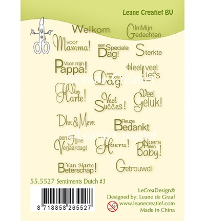 49266 Leane Creatief Clear Stamps Sentiments 3 Dutch Texts.