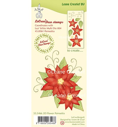49268 Leane Creatief Clear Stamp 3D Flower Poinsettia.