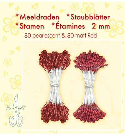 49279 Leane Creatief Meeldraden 2MM 80 Matt & 80 Pearl Red.